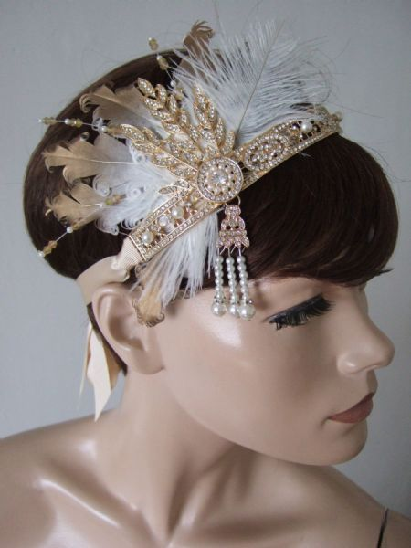"Gold White Goose + Ostrich Feathers Crystal Headband 1920s Downton Abbey Party Gatsby Flapper ""Dora"""
